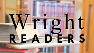 text: wright readers, books in background