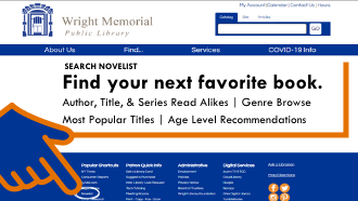 text find your next favorite book with hand pointing to NOveList in webpage footer