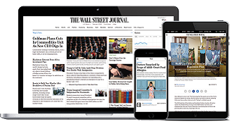 wall street journal online- displayed on a computer, tablet and phone