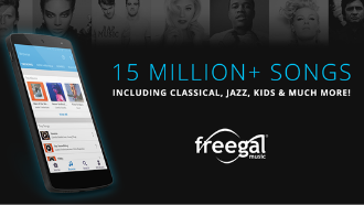 Freegal music logotext:156million+songs including classical jazz kids and much more image of a phone with freegal ondisplay