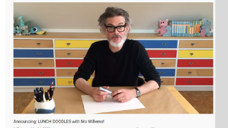 Mo Willems at a desk