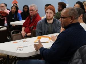 participants at the Racial Wealth Gap simulation