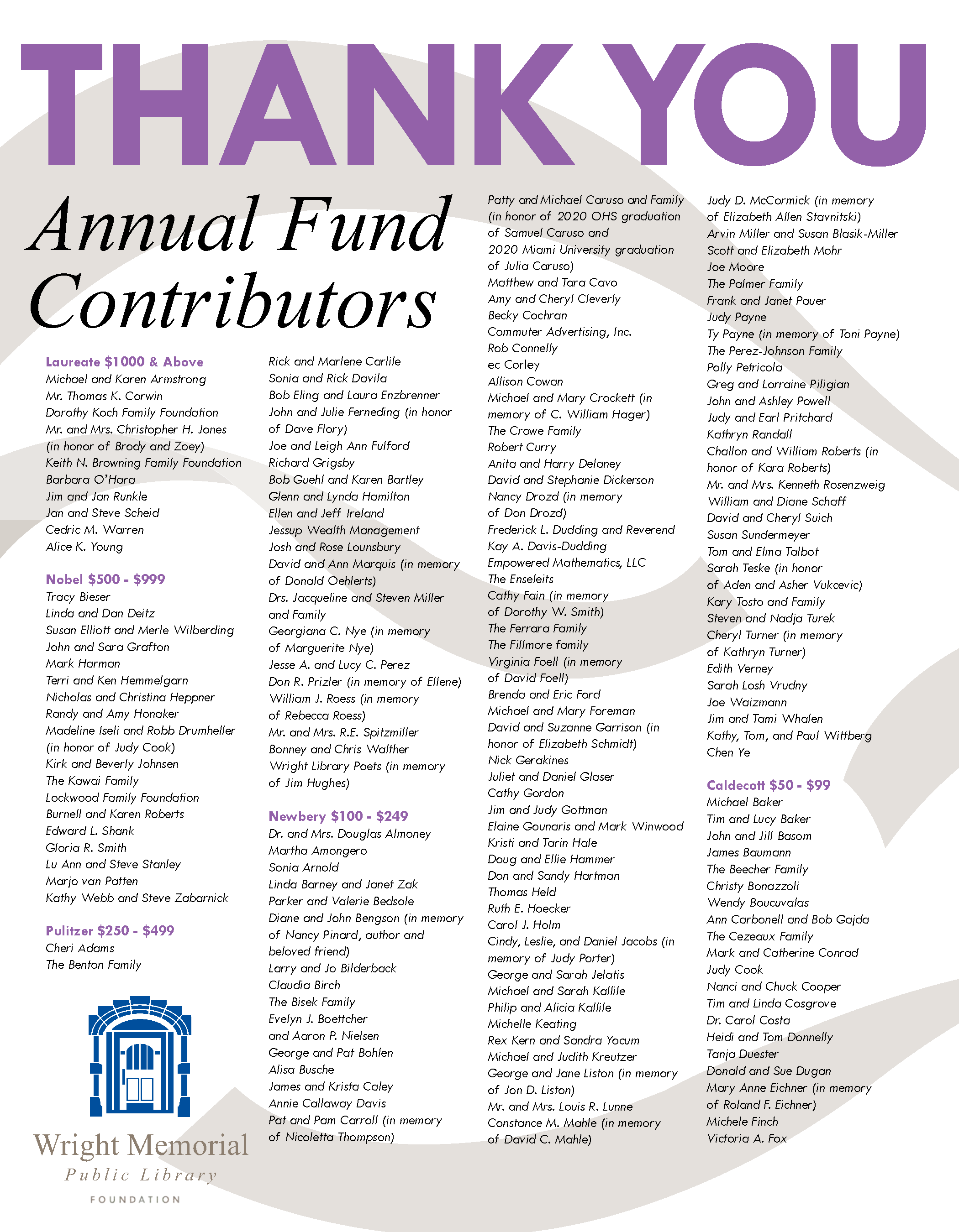 Thank you ad for 2020 annual and capital campaign donors